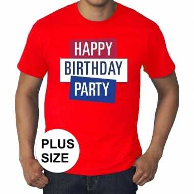 Goedkoop toppers grote maten rood toppers happy birthday party t shir