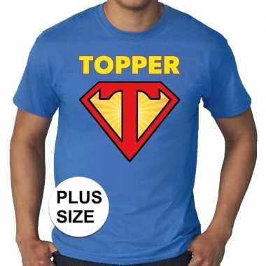 Goedkoop toppers grote maten super topper logo t shirt blauw heren ca