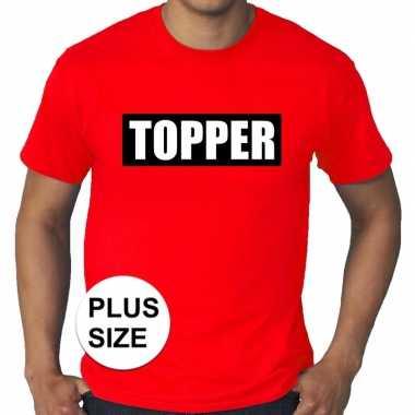 Goedkoop toppers grote maten topper kader t shirt rood heren carnaval