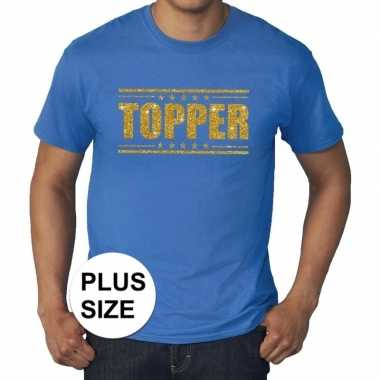 Goedkoop toppers grote maten topper shirt blauw gouden glitters heren