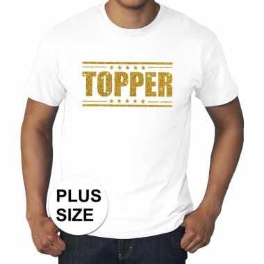 Goedkoop toppers grote maten topper shirt wit gouden glitters heren c