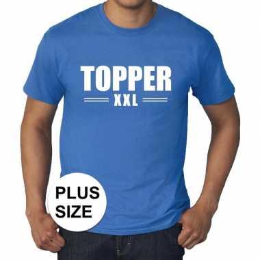 Goedkoop toppers grote maten topper xxl t shirt blauw heren carnavals