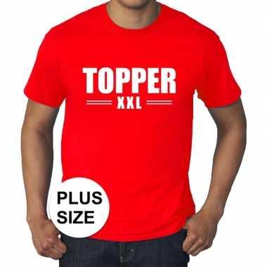 Goedkoop toppers grote maten topper xxl t shirt rood heren carnavalsk