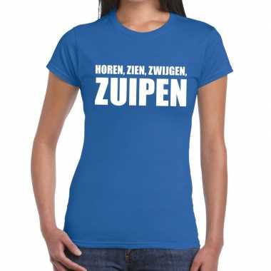 Goedkoop toppers horen zien zwijgen zuipen tekst t shirt blauw dames