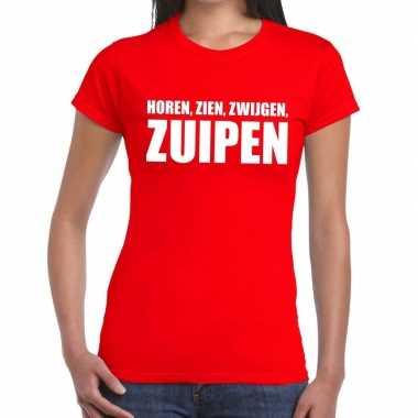 Goedkoop toppers horen zien zwijgen zuipen tekst t shirt rood dames c