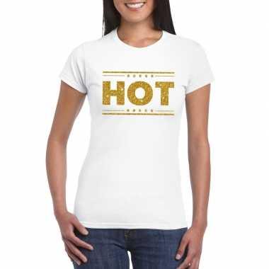 Goedkoop toppers hot t shirt wit gouden glitters dames carnavalskledi