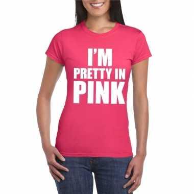 Goedkoop toppers i am pretty pink shirt roze dames carnavalskleding