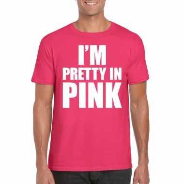 Goedkoop toppers i am pretty pink shirt roze heren carnavalskleding