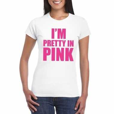 Goedkoop toppers i am pretty pink shirt wit dames carnavalskleding