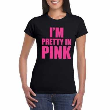 Goedkoop toppers i am pretty pink shirt zwart dames carnavalskleding