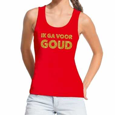 Goedkoop toppers ik ga goud glitter tanktop / mouwloos shirt rood dam