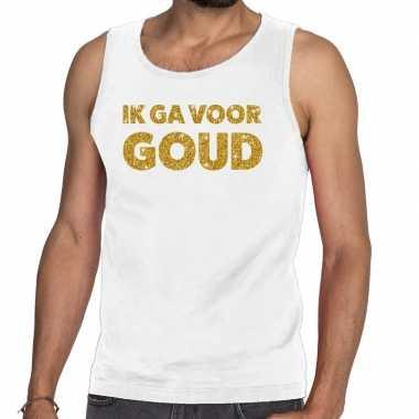 Goedkoop toppers ik ga goud glitter tanktop / mouwloos shirt wit here