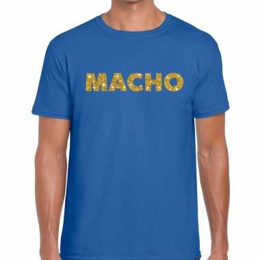 Goedkoop toppers macho goud glitter tekst t shirt blauw heren carnava