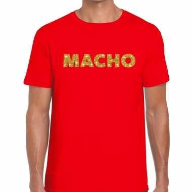 Goedkoop toppers macho goud glitter tekst t shirt rood heren carnaval