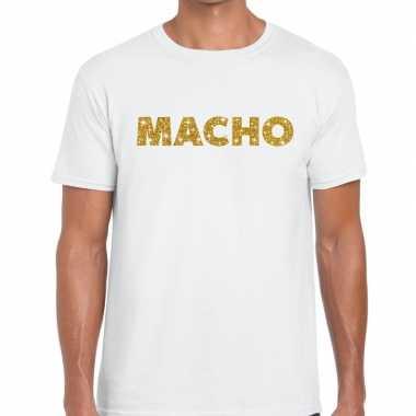 Goedkoop toppers macho goud glitter tekst t shirt wit heren carnavals