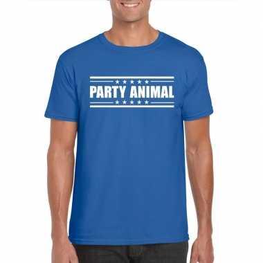Goedkoop toppers party animal t shirt blauw heren carnavalskleding