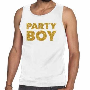 Goedkoop toppers party boy glitter tanktop / mouwloos shirt wit heren