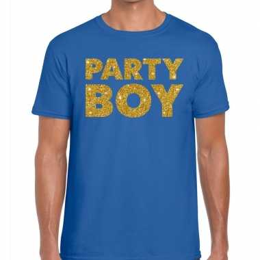 Goedkoop toppers party boy glitter tekst t shirt blauw heren carnaval