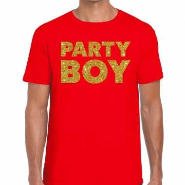 Goedkoop toppers party boy glitter tekst t shirt rood heren carnavals