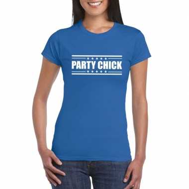 Goedkoop toppers party chick t shirt blauw dames carnavalskleding