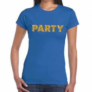 Goedkoop toppers party goud glitter tekst t shirt blauw dames carnava