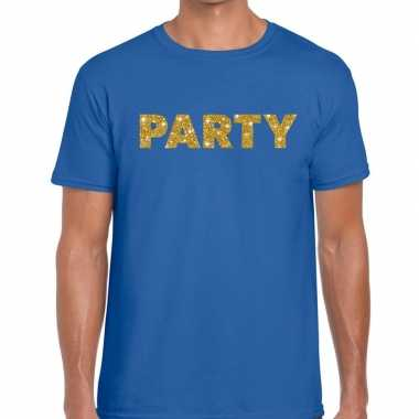 Goedkoop toppers party goud glitter tekst t shirt blauw heren carnava