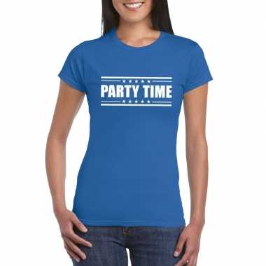 Goedkoop toppers party time t shirt blauw dames carnavalskleding
