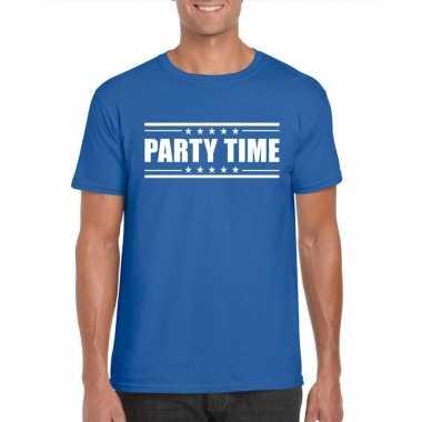 Goedkoop toppers party time t shirt blauw heren carnavalskleding