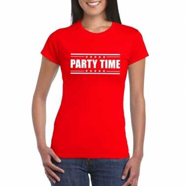 Goedkoop toppers party time t shirt rood dames carnavalskleding