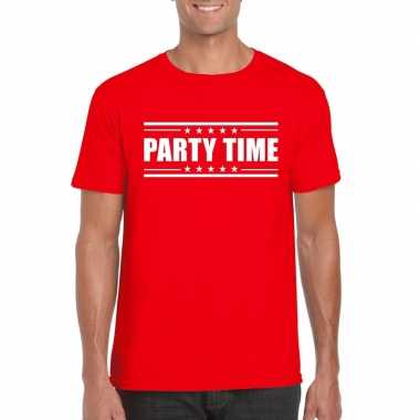 Goedkoop toppers party time t shirt rood heren carnavalskleding