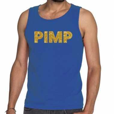 Goedkoop toppers pimp glitter tanktop / mouwloos shirt blauw heren ca
