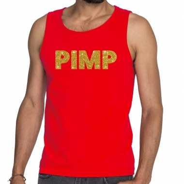 Goedkoop toppers pimp glitter tanktop / mouwloos shirt rood heren car