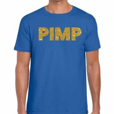 Goedkoop toppers pimp glitter tekst t shirt blauw heren carnavalskled