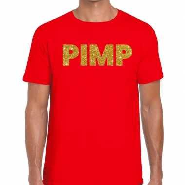Goedkoop toppers pimp glitter tekst t shirt rood heren carnavalskledi