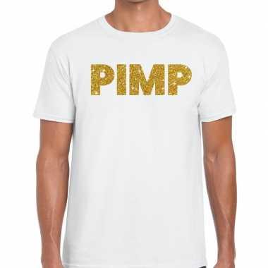 Goedkoop toppers pimp glitter tekst t shirt wit heren carnavalskledin