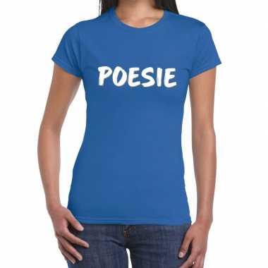 Goedkoop toppers poesie fun tekst t shirt blauw dames carnavalskledin
