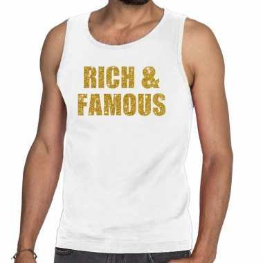 Goedkoop toppers rich and famous glitter tanktop / mouwloos shirt wit