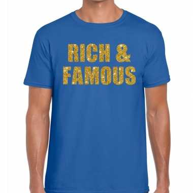 Goedkoop toppers rich and famous glitter tekst t shirt blauw heren ca