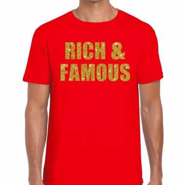 Goedkoop toppers rich and famous glitter tekst t shirt rood heren car