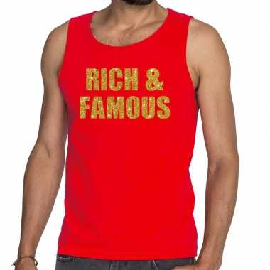 Goedkoop toppers rich and famous glitter tekst tanktop / mouwloos shi