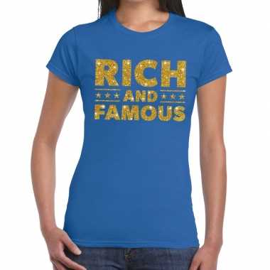 Goedkoop toppers rich and famous goud glitter tekst t shirt blauw dam