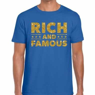 Goedkoop toppers rich and famous goud glitter tekst t shirt blauw her