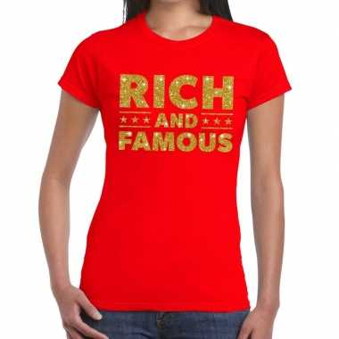 Goedkoop toppers rich and famous goud glitter tekst t shirt rood dame
