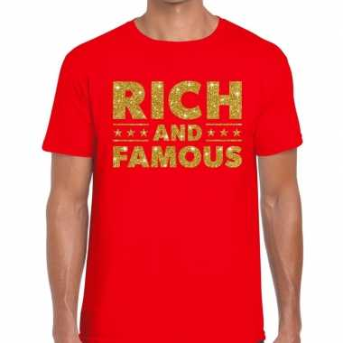 Goedkoop toppers rich and famous goud glitter tekst t shirt rood here