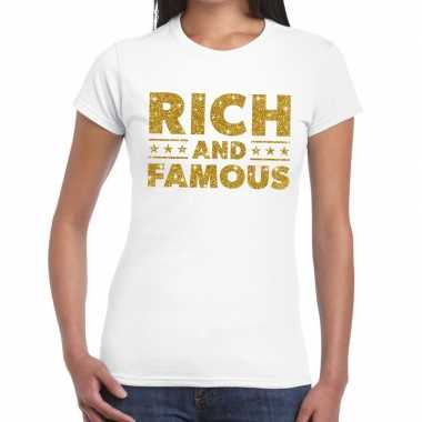 Goedkoop toppers rich and famous goud glitter tekst t shirt wit dames