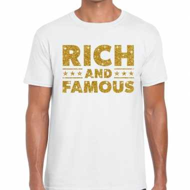 Goedkoop toppers rich and famous goud glitter tekst t shirt wit heren