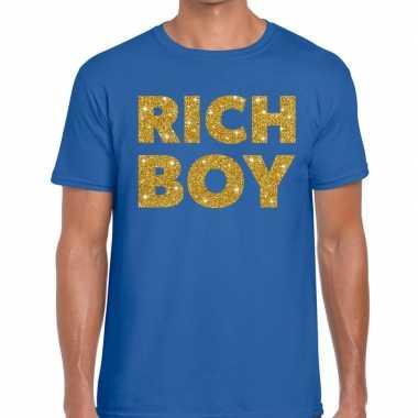 Goedkoop toppers rich boy goud glitter tekst t shirt blauw heren carn