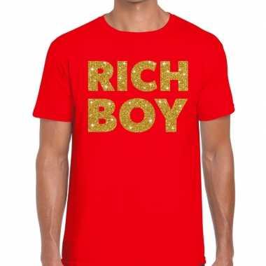 Goedkoop toppers rich boy goud glitter tekst t shirt rood heren carna