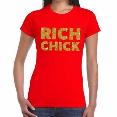 Goedkoop toppers rich chick goud glitter tekst t shirt rood dames car