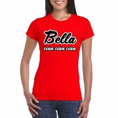 Goedkoop toppers rood bella ciao t shirt dames carnavalskleding